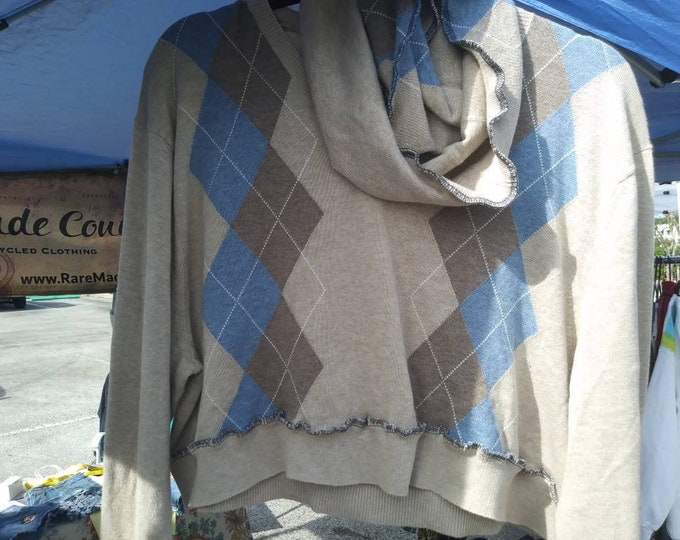 Womens 1x plus upcycled crop top sweater with matching scarf boho