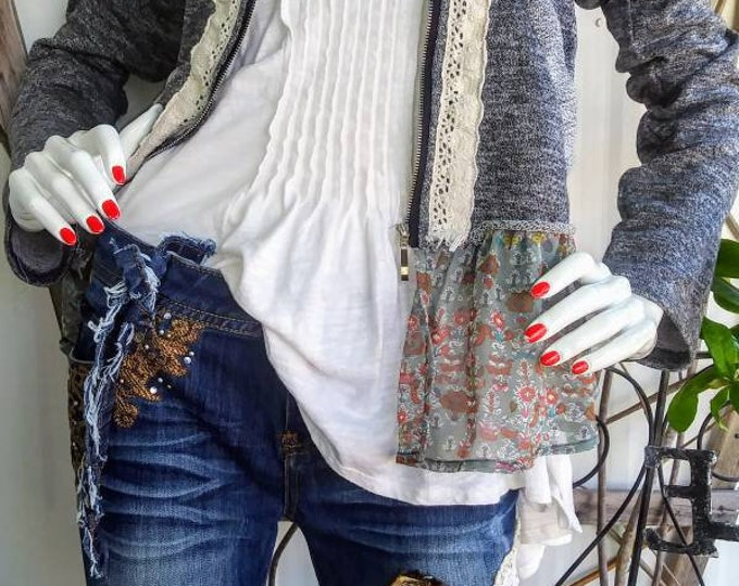 Womens size 6 upcycled ripped patch distressed jean outfit boho hippie jeans  indie hippie fringe boyfriend tapestry medium jacket 31