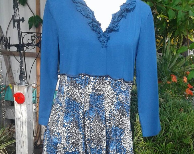 Blue upcycled tunic top dress small medium large  dress skirt boho