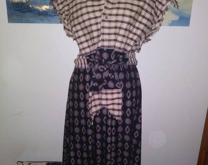 Plus 1x 2x Western fringed flannel dress womens upcycled boho chic