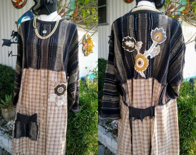 dress,1x,2x,xxl,16,18,w,1x,2x,plus,xxl,upcycled,winter,argyle,sweater,grey,artsy,boho,earthy,lagenlook,,womens,hippie,dress,fringe,rustic