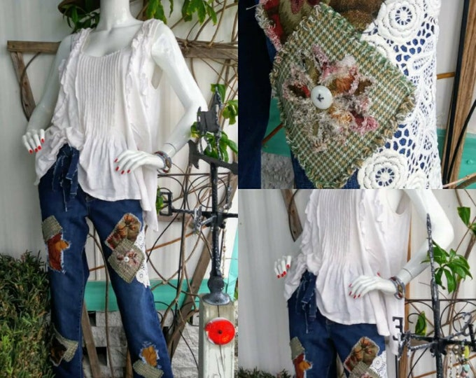 Womens size 12 upcycled ripped patchwork distressed jean outfit boho hippie jeans  indie hippie vintage high low fringe