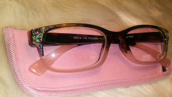 NEW 1.75 prescription bling reading glasses pink brown custom made 175 matching case
