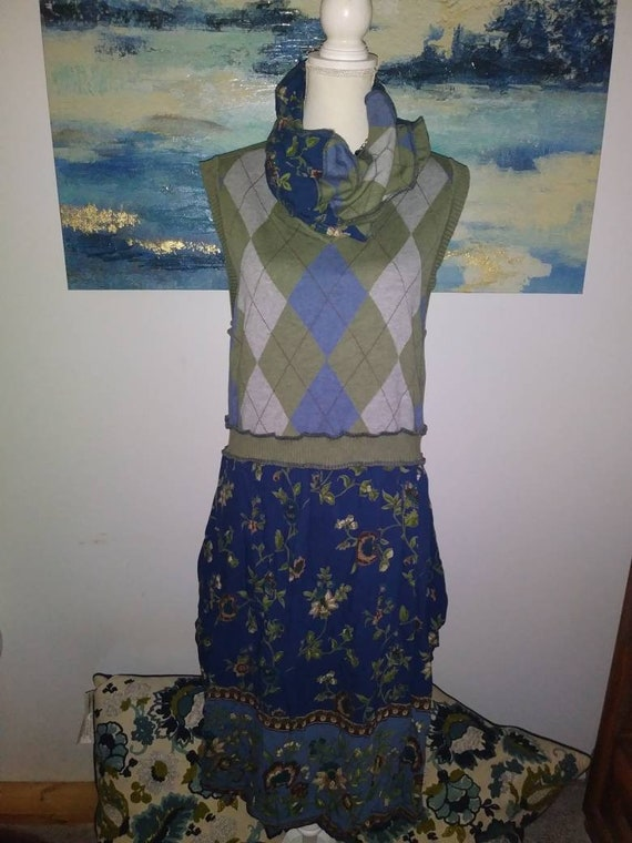 Womens plus size 16 vest dress crop top boho bohemian green scarf upcy led