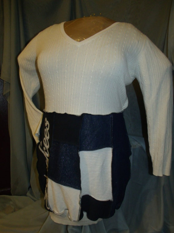 YANKEES,plus,dress,upcycled clothing,eco friendly,plus size sweater,recycled sweater,bohemian,boho,one of a kind,upcycled sweater,repurposed
