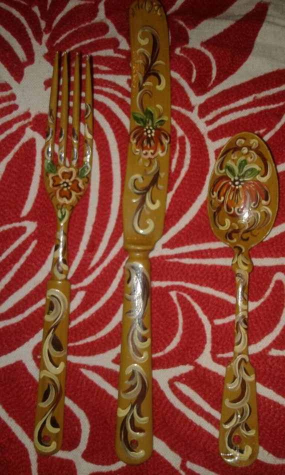 Gorgeous set of 3 hand painted silverware fork knife spoon signed by artist B. Appt handpainted art shabby chic