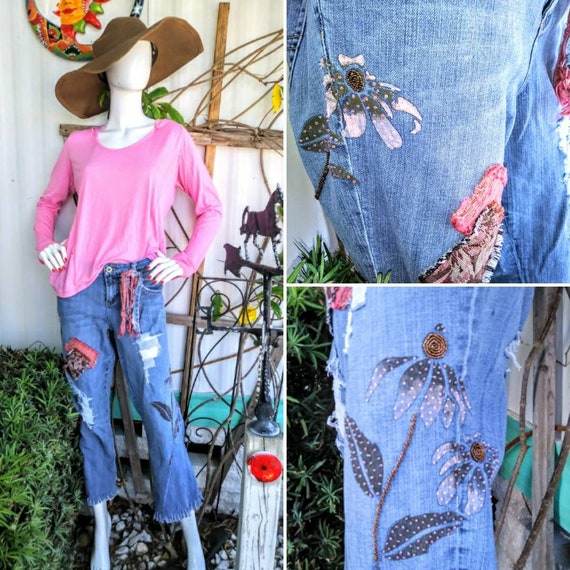 Womens size 14 upcycled ripped patch distressed jean outfit boho hippie jeans  pink denim vintage high low fringe boyfriend tapestry