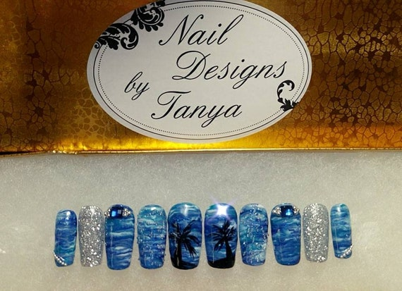 Sea Scape ~ Professionally made Nail Designs by Tanya press on ocean bling nails with kit custom art hand painted medium length coffin small