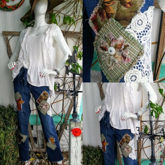 Womens size 12 upcycled ripped patch distressed jean outfit boho hippie jeans  indie denim vintage high low fringe boyfriend tapestry
