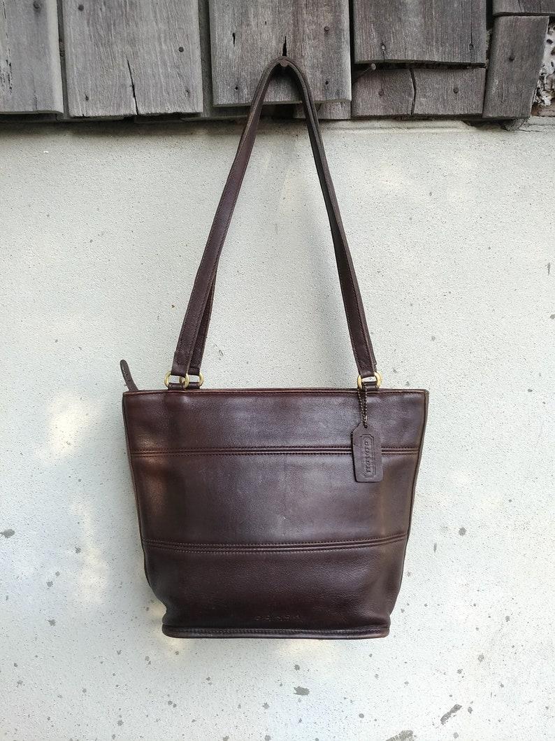 SALE ! Vintage COACH No E9B-9098 / Mahogany Brown /Tote , Shoulder Bag /  Small /