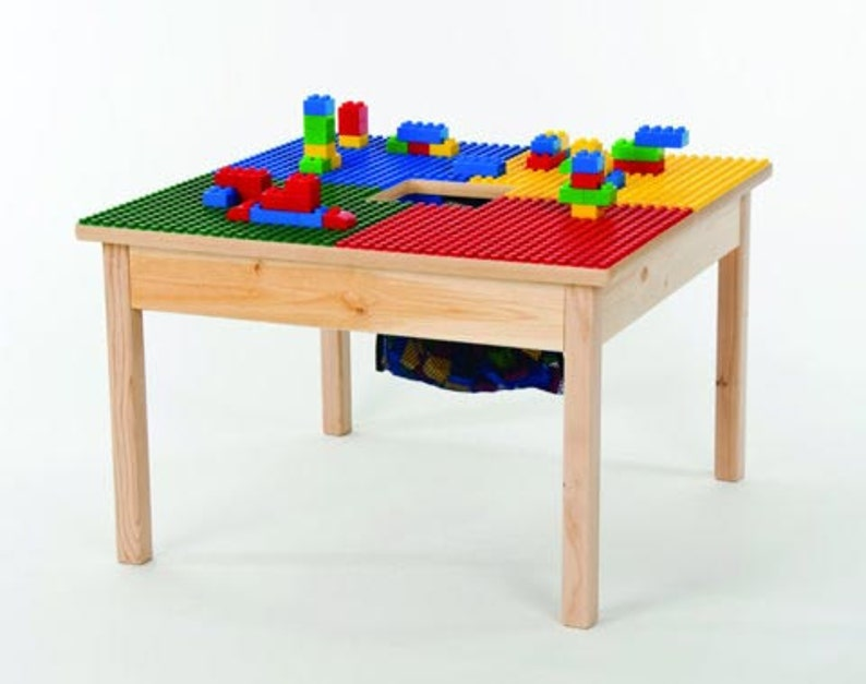 Medium Lego Compatible Heavy Duty Wood Block Table 27 X27 With Storage Bag Patent Preassembled Proudly Made In Usa New Ages 5 Up