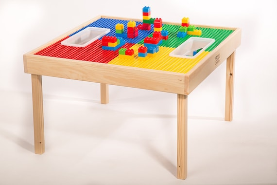 Large Lego Duplo Multi Activity Block Table W Play Cover 32 X32 W 2 Storage Bins Patent Pending 3 In 1 Table Made In Usa Brand New