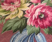 Vintage Barkcloth Pink Burgandy Floral Flower Material Pillow Projects