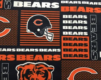 """CHICAGO BEARS nfl 60"""" Cotton Fabric By The Yard All Over Patchwork Print Fabric Traditions"""