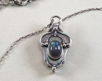 Timeless. Labradorite and Sterling Silver Necklace.  Ornate, arabesque pendant.  One of a kind.  Handmade.  Blue flash schiller.