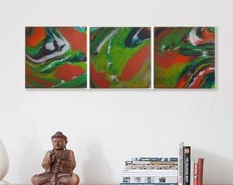 Little Pigeon River Triptych - Acrylic Pour Fluid Painting