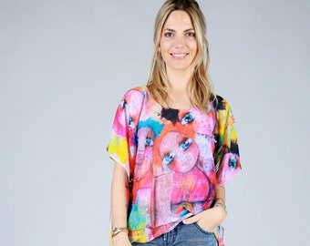 Colorful tunic with Myriam Bourianne paint