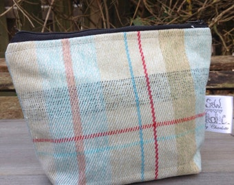 Small wash bag cosmetic bag in cairngorm tartan fabric