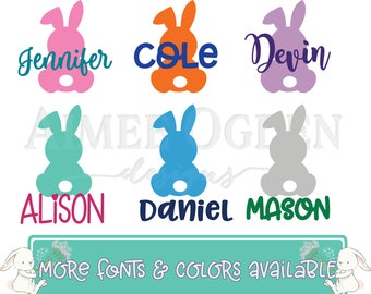 Easter Decal - Easter Bunny Decal - DIY Personalized Easter Bunny Rabbit and Name Decal / Sticker / Label for Bucket Basket Pail -