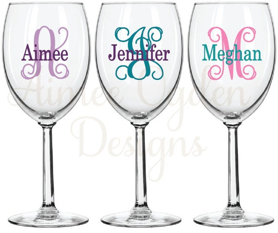 Diy Wine Glass Monogram Decal Personalized Name Initial Etsy