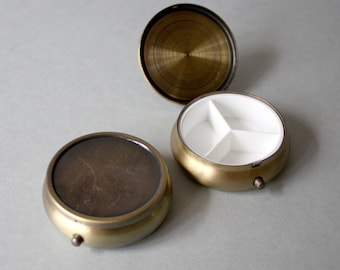 Vintage Bronze circle mini box for Jewelry Box, Drug Box, Pill case DIY