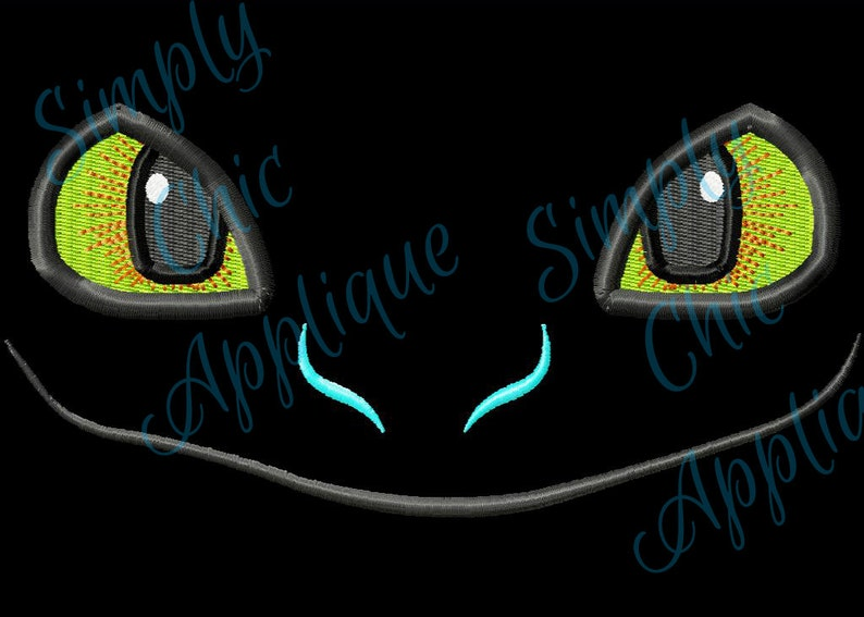 Instant download toothless inspired dragon face applique & etsy