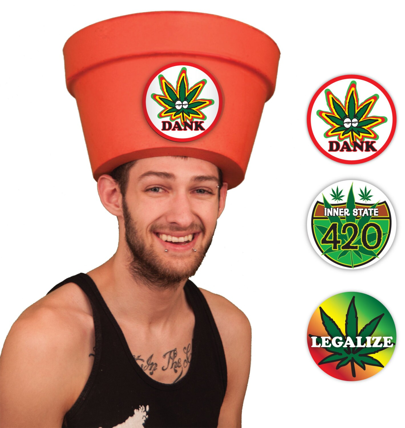 discount shop great look best Costume Party Hats for Men - Legalize Weed Pot Head Halloween Hat Sticker  Combo