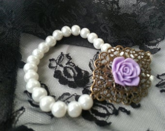 Purple Rose and Pearl Bracelet with Bronze Filigree