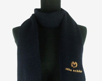 68c951190955 Mila Schon Navy Blue Color Cashmere Scarf Wrap Foulard Shawl