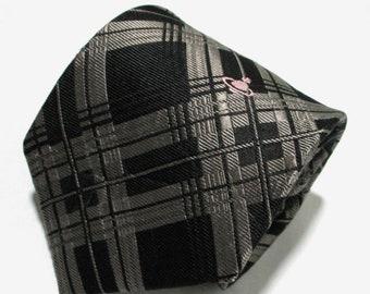 7d09a9a6e11 Vivienne Westwood Check Black Color Silk Necktie Tie