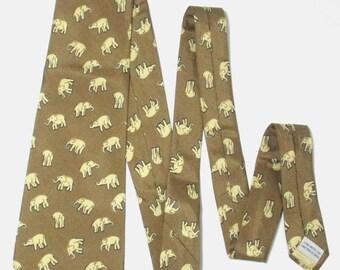 Jim Thompson Elephant Brown Color Silk Necktie Tie
