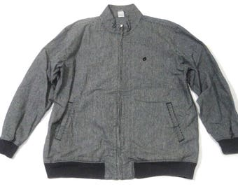 Hang Ten Pinstripe Gray Men XL Heavyweight Cotton Harrington Jacket Sweater