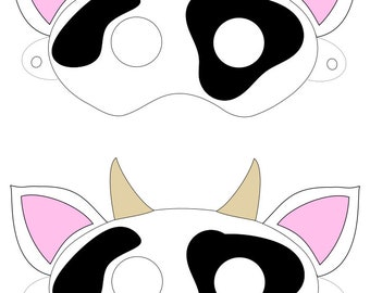 graphic about Cow Mask Printable titled Cow mask Etsy