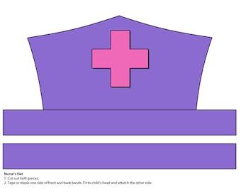 image regarding Printable Nurse Hat Template identified as Electronic Obtain Paper Nurses Hat Printable Etsy