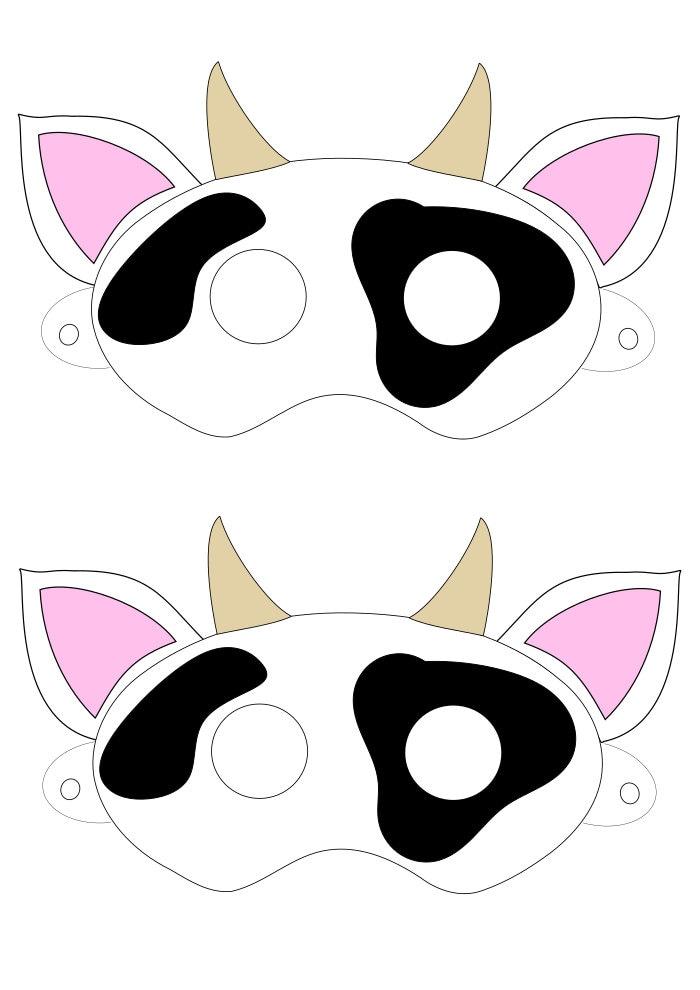 Digital Download Cow Mask Printable Svg Vector File Etsy