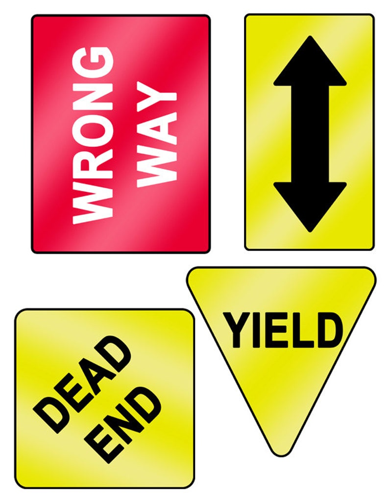 picture relating to Printable Road Sign known as Printable Street Signs or symptoms Quick Electronic Obtain; Generate, Lifeless Close, Incorrect Course, Double Arrow.