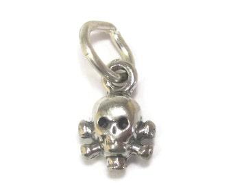 Tiny Vintage Sterling Skull Crossbones Charm
