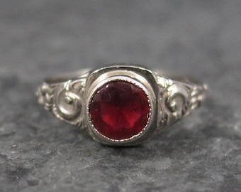 Antique Art Deco Infant Baby Ruby Ring