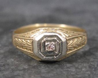 Antique 14K Art Deco Diamond Baby Ring Size 3