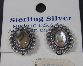 Vintage Bell Trading Abalone Clip On Earrings New Old Stock