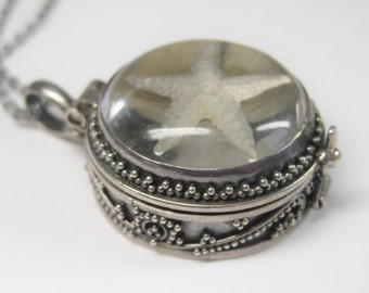 Vintage Sterling Starfish Pill Box Compartment Poison Pendant Necklace