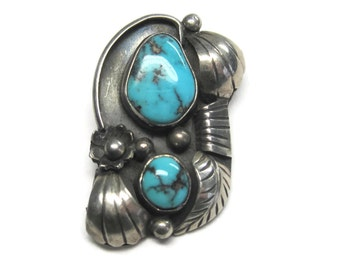 Vintage Navajo Turquoise Feather Pendant