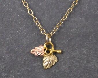 Tiny Vintage 10K Black Hills Gold Pendant Necklace