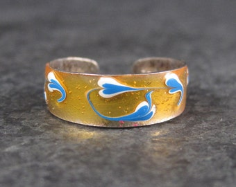 Vintage 90s Sterling Blue and Orange Enamel Toe Ring