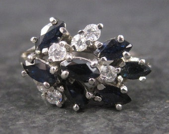 Vintage Sterling Sapphire Ring Size 8