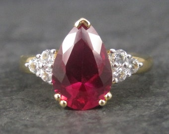 Vintage Sterling Vermeil Synthetic Ruby Ring Size 6.5