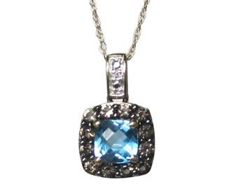 Vintage 10K Blue Topaz Champagne Diamond Pendant Necklace