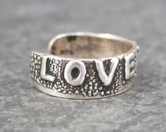 Vintage Sterling Love You Toe Ring