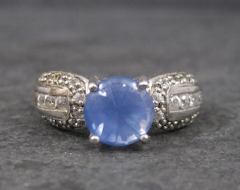 Sapphire Ring and White Zircon Ring Sterling Sz 8