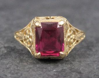 Vintage 14K Art Deco Filigree Ruby Ring Size 7